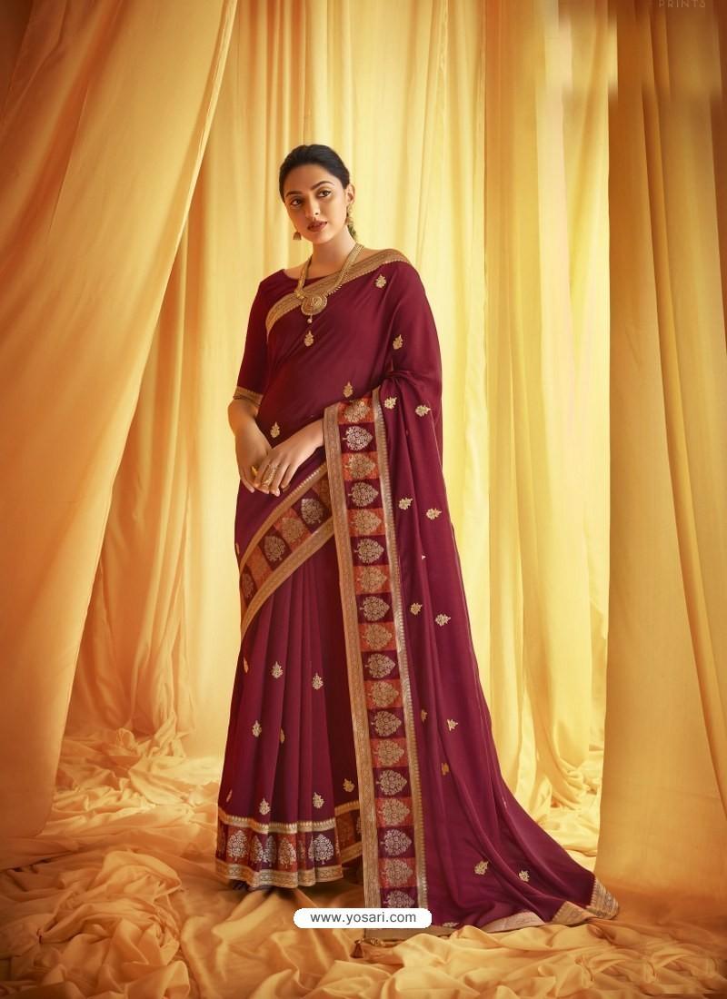 Maroon Stylist Party Wear Designer Vichitra Silk Sari