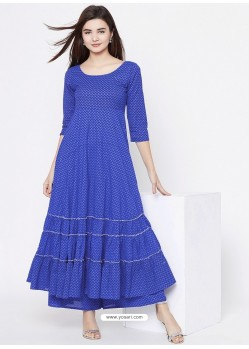 Blue Designer Readymade Party Wear Rayon Kurti With Palazzo