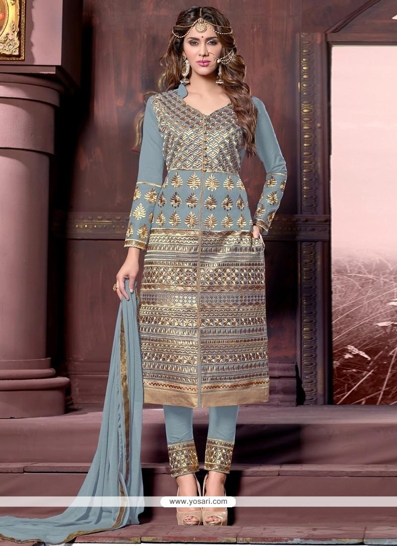 Exotic Zari Work Designer Straight Suit