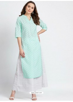 Sea Green Designer Readymade Party Wear Rayon Kurti With Palazzo