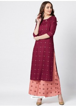 Maroon Designer Readymade Party Wear Rayon Kurti With Palazzo