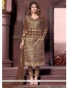Perfect Brown Lace Work Cotton Designer Straight Salwar Suit