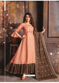 Light Orange Designer Readymade Party Wear Cotton Mal Kurti With Dupatta