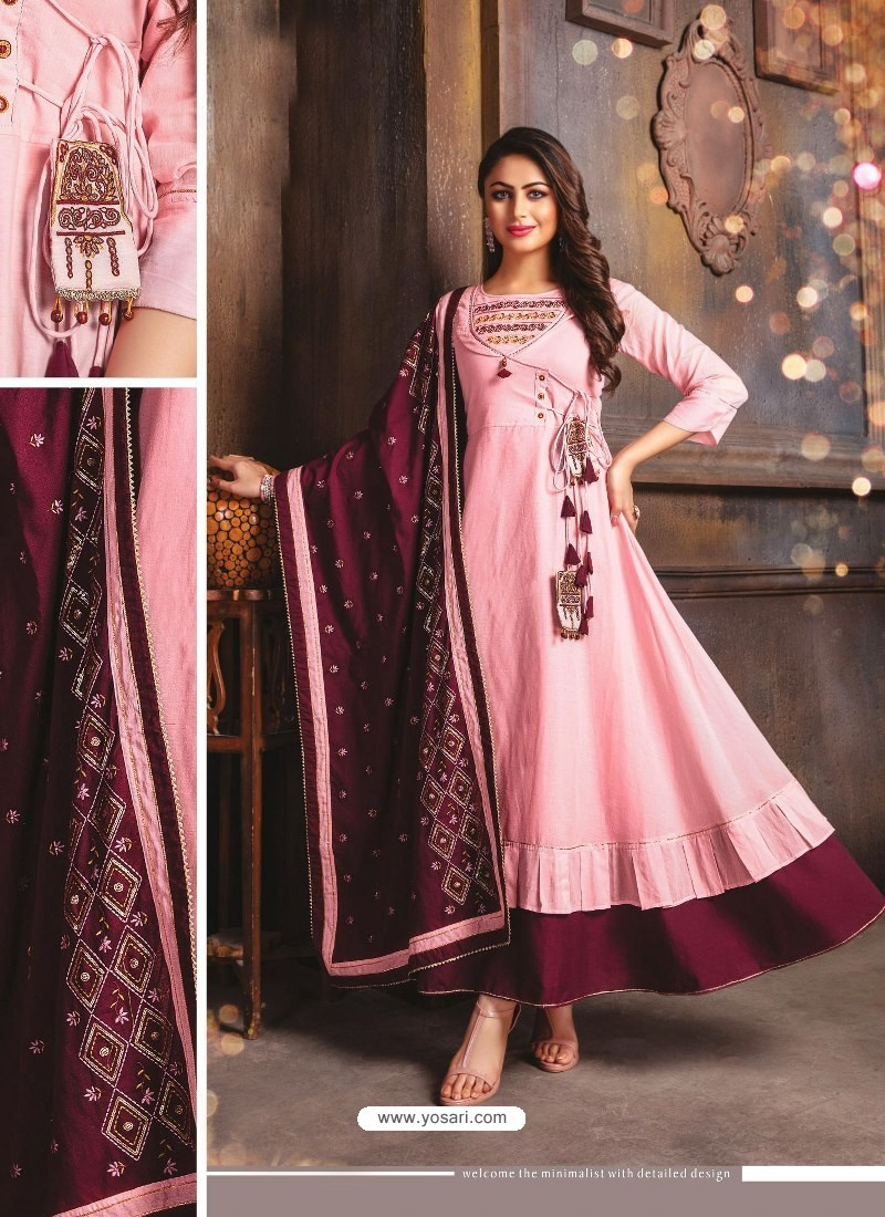 Pink Designer Readymade Party Wear Cotton Mal Kurti With Dupatta