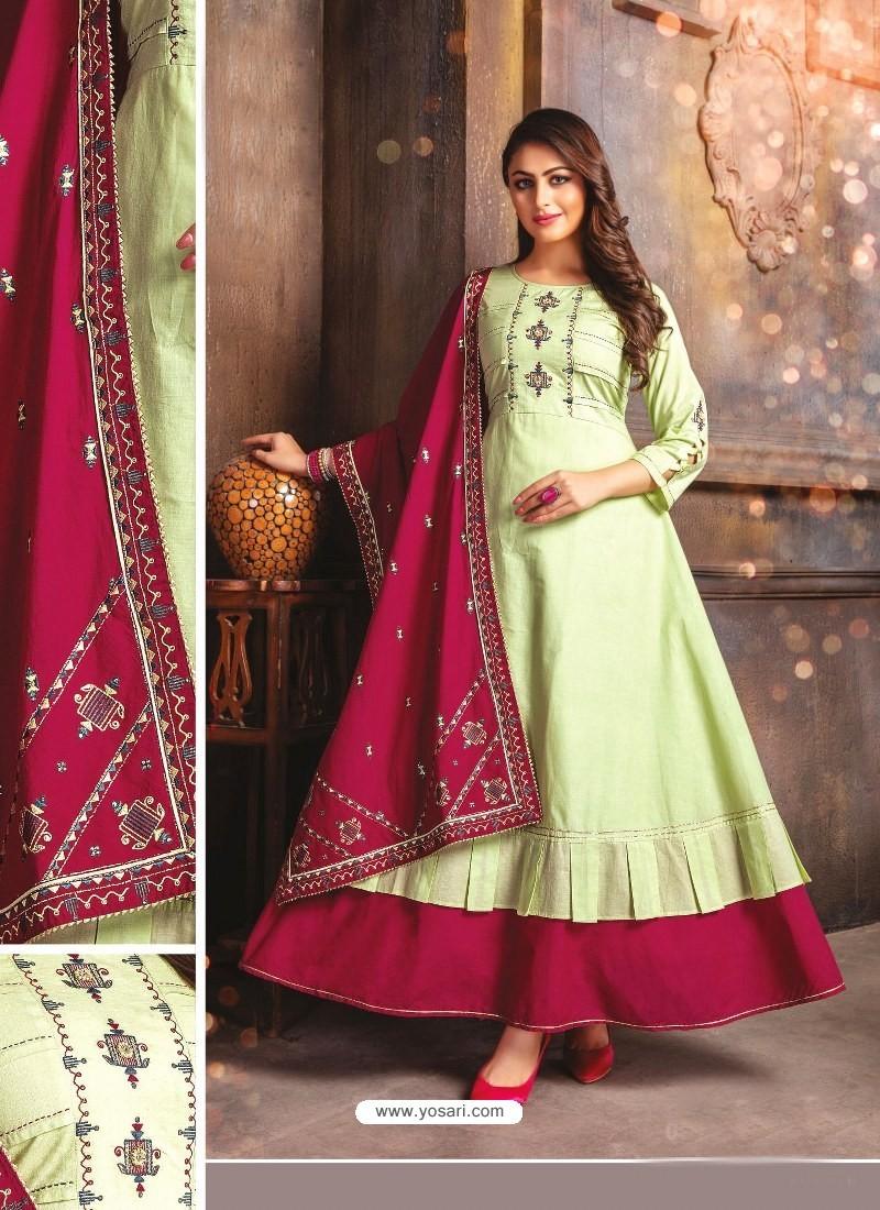 Green Designer Readymade Party Wear Cotton Mal Kurti With Dupatta