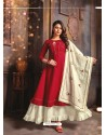Maroon Designer Readymade Party Wear Cotton Mal Kurti With Dupatta