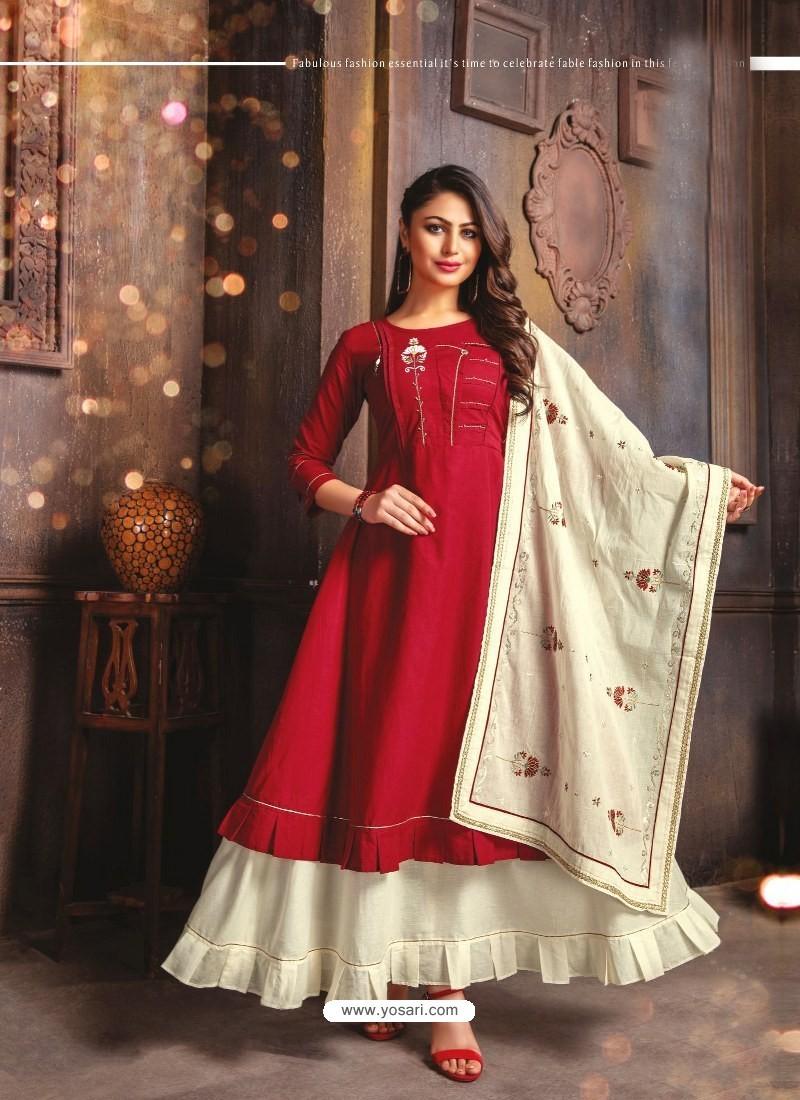 Maroon Designer Readymade Party Wear Cotton Mal Kurti With Dupatta
