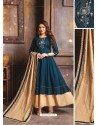 Navy Blue Designer Readymade Party Wear Cotton Mal Kurti With Dupatta