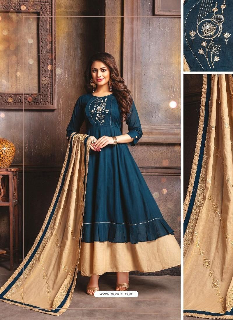 Navy Blue Designer Readymade Party Wear Cotton Mal Kurti With Dupatta