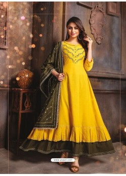 Yellow Designer Readymade Party Wear Cotton Mal Kurti With Dupatta