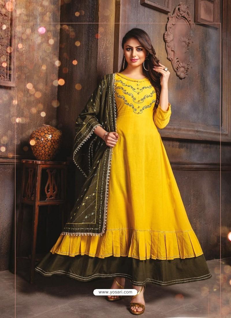 Yellow Designer Readymade Party Wear Cotton Mal Kurti With Dupatta