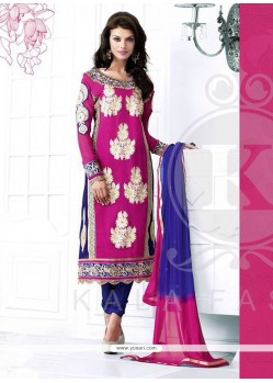 Magnificent Pink And Blue Georgette Churidar Salwar Kameez
