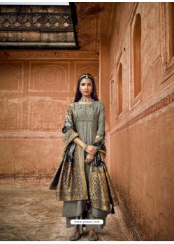 Grey Designer Pure Maslin Party Wear Palazzo Salwar Suit