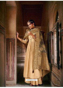 Cream Designer Pure Maslin Party Wear Palazzo Salwar Suit