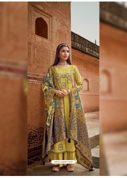 Lemon Designer Pure Maslin Party Wear Palazzo Salwar Suit