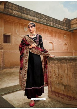 Black Designer Pure Maslin Party Wear Palazzo Salwar Suit