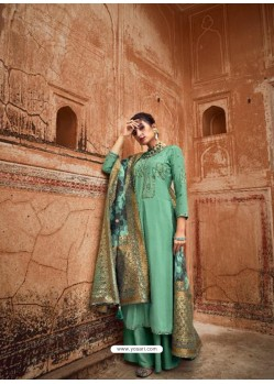 Aqua Mint Designer Pure Maslin Party Wear Palazzo Salwar Suit