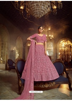 Old Rose Heavy Embroidered Designer Soft Net Wedding Lehenga Choli