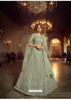 Olive Green Heavy Embroidered Designer Soft Net Wedding Lehenga Choli