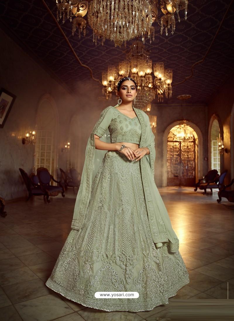 Olive Green Heavy Embroidered Designer Soft Net Wedding Lehenga Choli