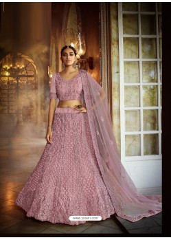 Dusty Pink Heavy Embroidered Designer Soft Net Wedding Lehenga Choli