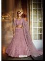 Dusty Pink Heavy Embroidered Designer Soft Net Wedding Lehenga Choli