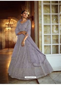 Aqua Grey Heavy Embroidered Designer Soft Net Wedding Lehenga Choli