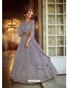 Aqua Grey Heavy Embroidered Designer Soft Net Wedding Lehenga Choli