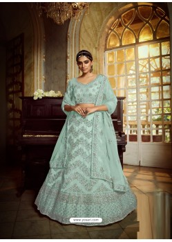Sky Blue Heavy Embroidered Designer Soft Net Wedding Lehenga Choli