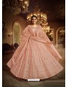Light Orange Heavy Embroidered Designer Soft Net Wedding Lehenga Choli
