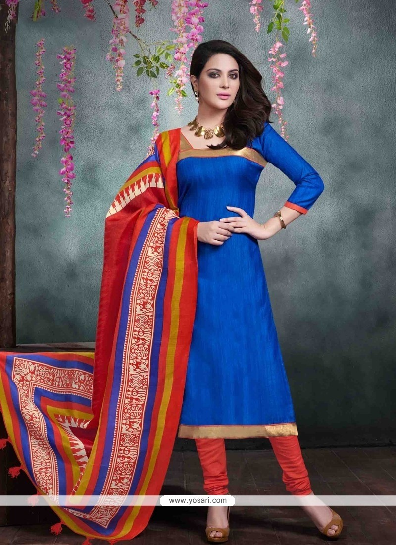 Perfect Blue Churidar Salwar Kameez