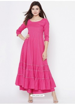 Hot Pink Latest Designer Party Wear Kurti
