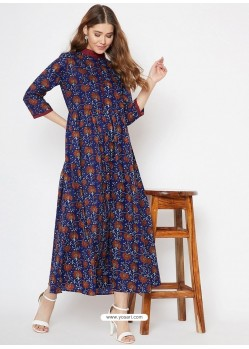 Dark Blue Latest Designer Party Wear Kurti