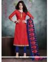 Renowned Bhagalpuri Silk Red Churidar Salwar Kameez