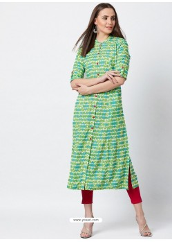 Green Latest Designer Party Wear Kurti