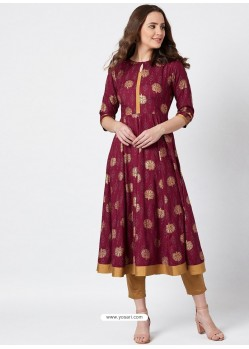 Maroon Latest Designer Party Wear Kurti