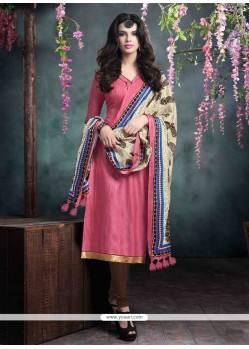 Exceeding Bhagalpuri Silk Pink Churidar Salwar Kameez