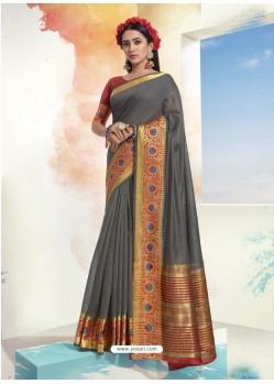 Grey Latest Designer Party Wear Soft Cotton Sari