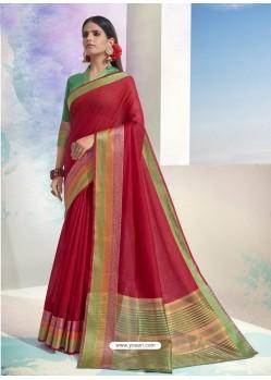 Red Latest Designer Party Wear Soft Cotton Sari
