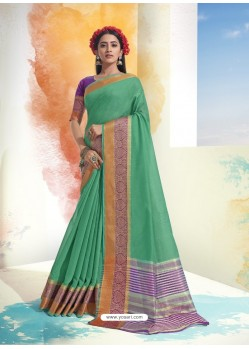 Aqua Mint Latest Designer Party Wear Soft Cotton Sari