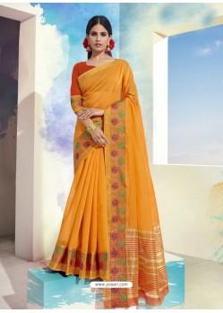 Yellow Latest Designer Party Wear Soft Cotton Sari