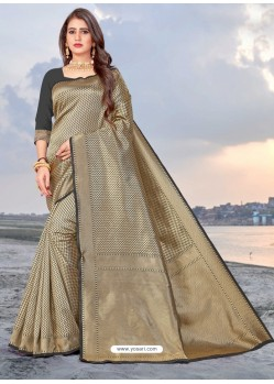 Taupe Latest Designer Party Wear Banarasi Silk Sari