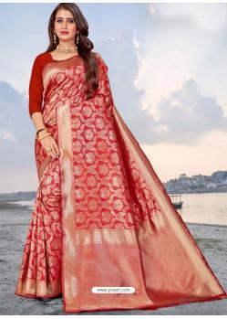 Red Latest Designer Party Wear Banarasi Silk Sari