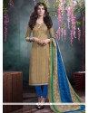 Transcendent Beige Bhagalpuri Silk Churidar Salwar Kameez