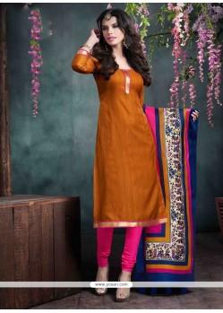 Perfervid Mustard Lace Work Bhagalpuri Silk Churidar Salwar Kameez