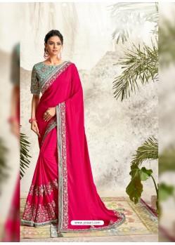 Fuchsia Latest Designer Party Wear Wedding Sari