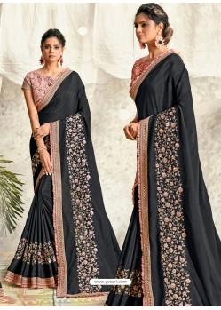 Black Latest Designer Party Wear Wedding Sari