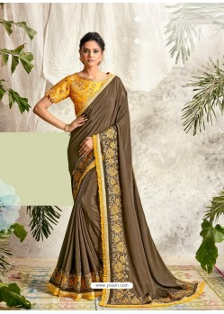 Camel Latest Designer Party Wear Wedding Sari