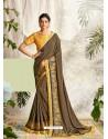 Camel Latest Designer Party Wear Wedding Sari