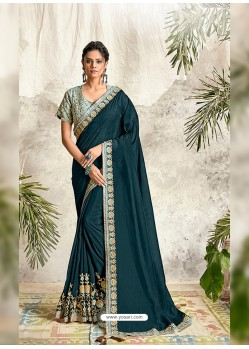 Peacock Blue Latest Designer Party Wear Wedding Sari